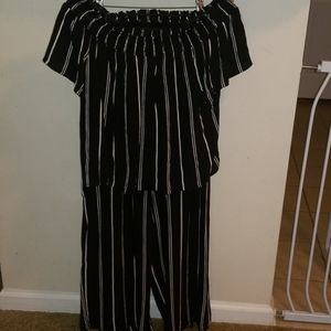 Black and White Striped cropped top and pants